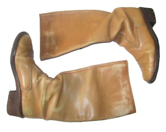 Vintage Absolutely Fabulous Rare Distress Beige Tan Knee High Quality Chunky Rubber Heel & Leather Hippie Boho Riding Boots Size 6