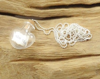 Message from the heart necklace - message in a bottle necklace