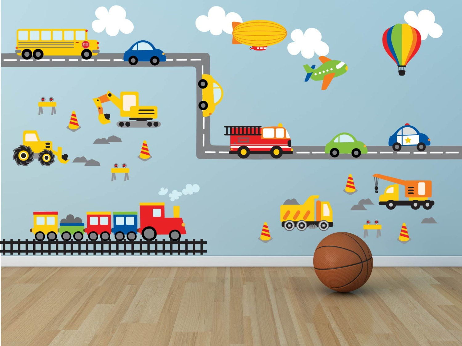 Truck wall decal construction wall decal plane wall for Boys wall mural