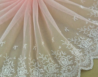 Wholesale lot - 3yads pink embroidered lace trim diy doll wedding dress 23.5cm 9.5inch