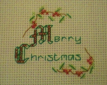 Merry Christmas Cross Stitch Card Kit