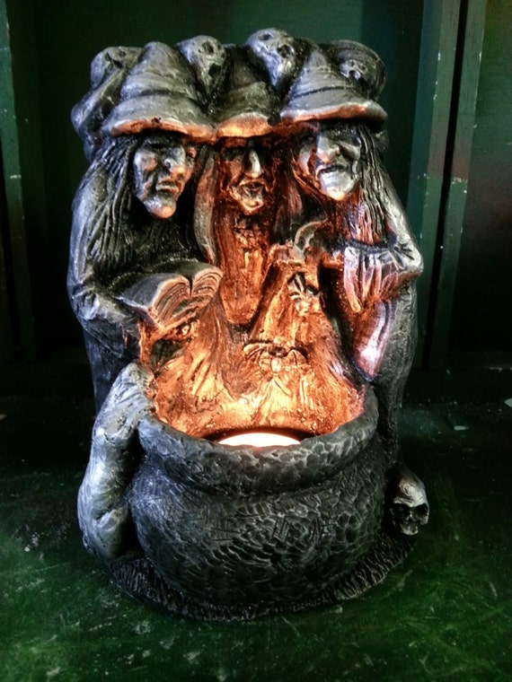 3 Witches Around A Cauldron With Tea Lite Candle Holder