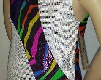 Gymnastics Leotard, Girls Size 5, Child Small Leotard - Rainbow Glitter / White Shattered Glass Hologram  Gymnastics and Dance Leotard