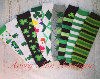 Leg Warmers, St. Patrick's Day Leg Warmers, Baby Leg Warmers, Toddler Leggings, Shamrock Leg Warmers, Green and White Leg Warmers,