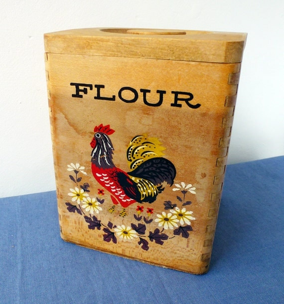 Rooster wooden flour box vintage canister kitchen container