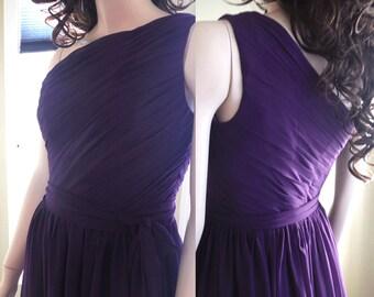 Dark purple bridesmaid dress, Long Bridesmaid Dress, single shoulder, chiffon, party