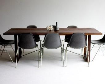 modern walnut dining table, modern dining table, modern table, walnut harvest table, wood dining table