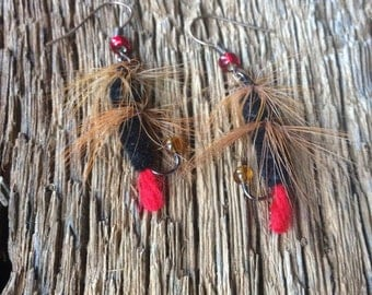 Fly fishing fly: red and black fly fishing fly earrings fishing jewelry