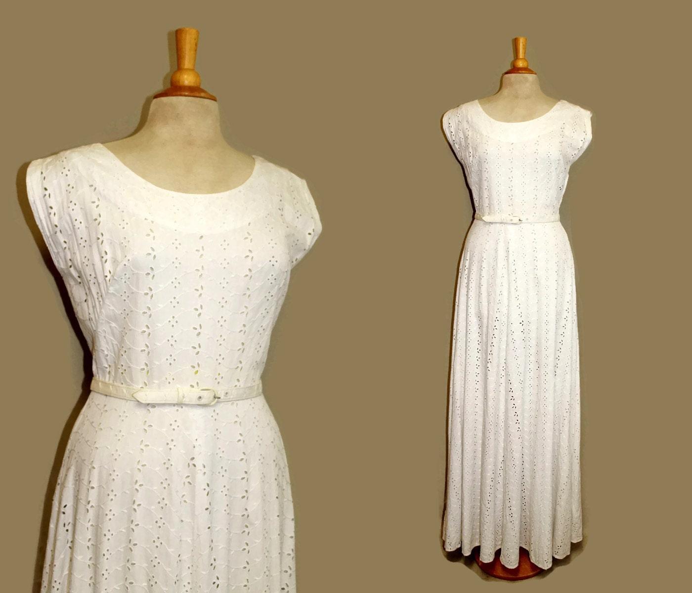 40s Wedding Dress 1940s Long White Eyelet By