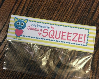 Valentine's Day Bag Tag - Gimme a Squeeze Monster, personalized gift label