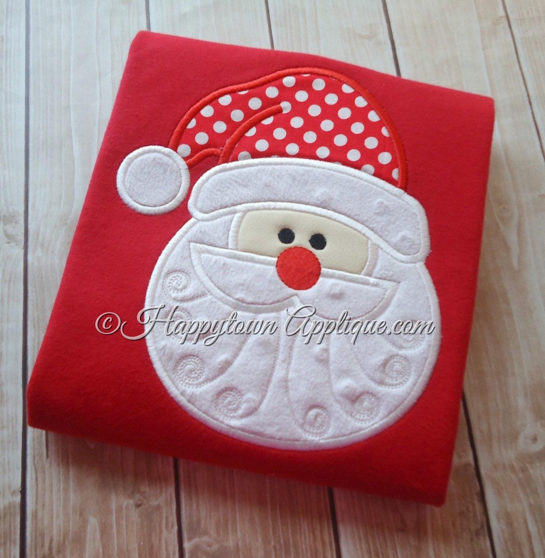 Santa face machine applique embroidery design by