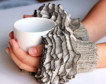 Fingerless Gloves, cozy hand knitted mittens Hand  Knit elegant ruffled gray gloves, frilly gloves gray colored autumn winter 2016 fashion