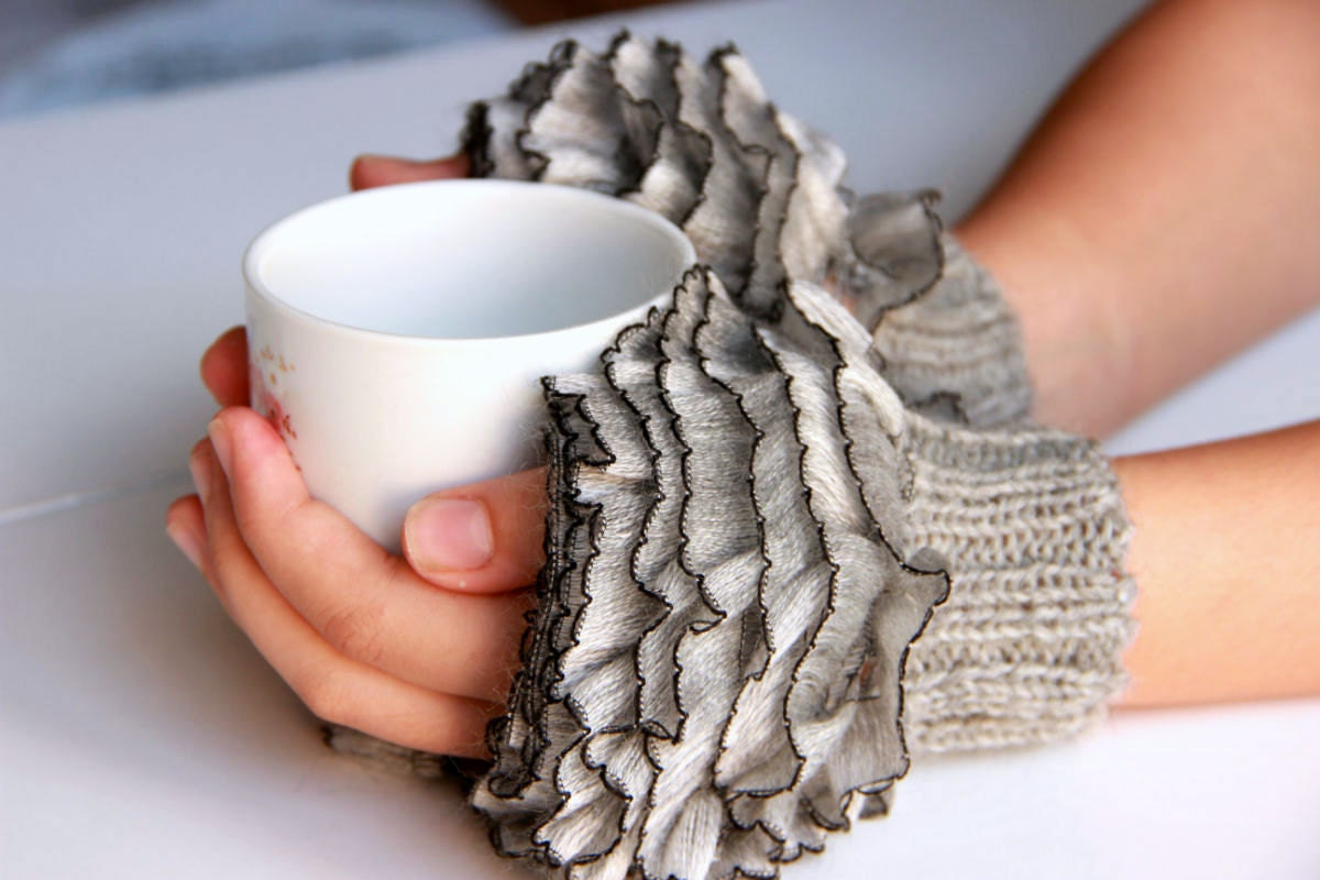 Fingerless gloves how to make - Fingerless Gloves Cozy Hand Knitted Mittens Hand Knit Elegant Ruffled Gray Gloves Frilly Gloves Gray Colored Autumn Winter 2016 Fashion