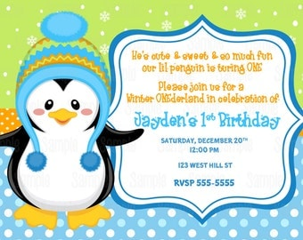Printable Boy Penguin Winter Wonderland Birthday Party Invitation plus FREE blank matching printable thank you card