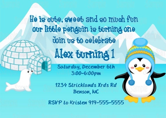 Printable boy penguin winter wonderland birthday party invitation il570xn filmwisefo Image collections