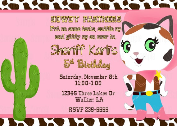 Printable Sheriff Callies Wild West Birthday Party Invitation plus
