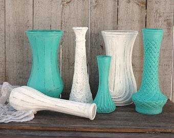 Shabby Chic Vases, Aqua, White, Hand Painted, Distressed, Glass, Wedding Decor, Set of 6, Painted Vases, Centerpiece, Vase Set, Aqua Vases
