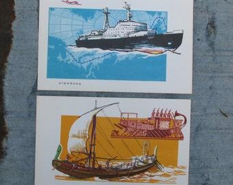 "Set of 16 Rare Vintage Soviet Cards Print  Ships ""From raft till ""Meteor""-  Scrapbooking Embellishments Collage Art. Gift Tags. Made in USSR"