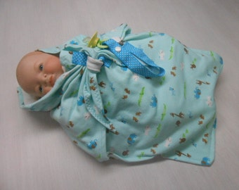 Newborn Swaddle Blanket with pacifier clip