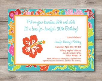 Luau Invitation With Editable Text Printable Hawaiian DIY Birthday Party