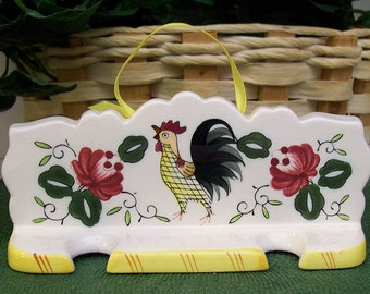 Vintage UCAGCO Ceramics Japan – PY – Early Provincial Rooster and Roses Hanging Rack for Salt and Pepper Shakers