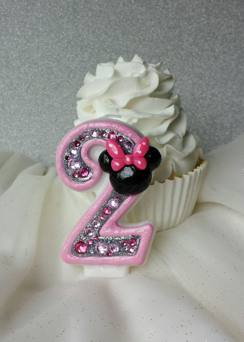 Pink Minnie Mouse birthday candle keepsake candle