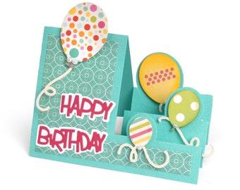 New! Sizzix Framelits Die Set 23PK - Card, Balloons Step-Ups by Stephanie Barnard 660024