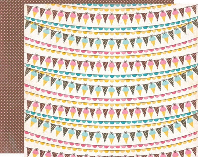 2 Sheets of Carta Bella Paper COOL SUMMER 12x12 Textured Scrapbook Cardstock - Ice Cream Banner