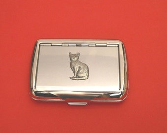 Cat Chrome Tobacco Tin With Pewter Motif Father Cat Gift