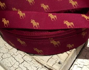 "3 yards 7/8"" Riding Horse Western gold on burgundy wine grosgrain ribbon"