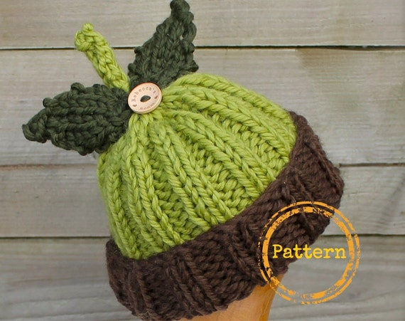 Items similar to Knitting Pattern Hat - Little Acorn Hat ...