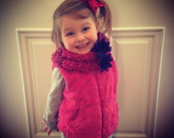 Adorable little toddler scarf (infinity) with purple flower adornment