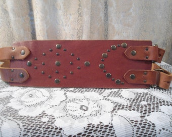 Steampunk Belt Extra Wide Genuine Leather Size Large XL Double Buckle Corset Studded Medieval Renaissance