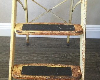 Vintage Yellow Rusty Folding Step Stool ~ Primitive ~ Cottage ~ Country Chic ~ Photo Prop ~ Ladder ~ Step Ladder