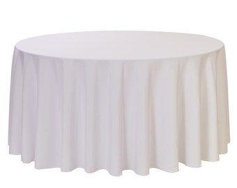 YCC Linen - 120 Inch Round Polyester Tablecloth White | Wedding Tablecloth