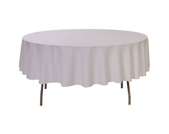 YCC Linen   90 Inch Round Polyester Tablecloth White | Wedding Tablecloth