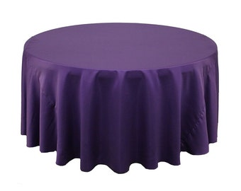 132 Inch Round Lamour Tablecloth Purple | Wedding Tablecloths