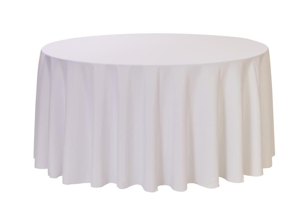 120 inch round polyester tablecloth white wedding For120 Inch Round Table Cloths