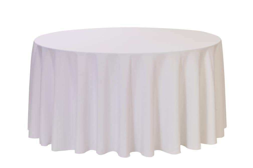 120 inch round polyester tablecloth white wedding