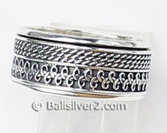 Sterling ,Silver,925, Bali, Band Ring Spin Ring R211 Ring Size US # 6and  9