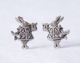 White Rabbit Earrings / Silver Alice in Wonderland Earings / Bunny Earrings / Kawaii Earrings / Rabbit Earrings / Bunny Jewelry