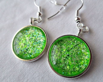 Lime Green Dangle Earrings; Glass Dome Earrings; Nail Polish Jewelry; Hand Painted Glass Jewelry; Silver Circle Earrings; Handmade Earrings