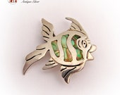 Mexican Fish Brooch Pin Engraved Sterling Silver 925 Mother of Pearl Green Orange Yellow Vintage 1960s