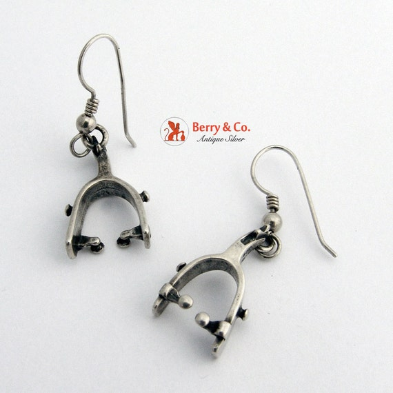 Western Style Spur Earrings Sterling Silver By Berrysgems