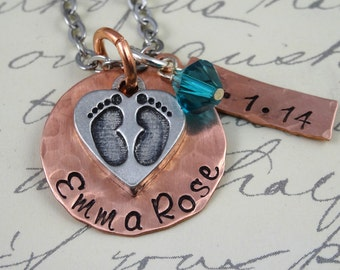 New Mom Push Present - BABY Feet & Date -  Hand Stamped Necklace - Birth Adoption Custom  Jewelry Handstamped - New Mom Gift