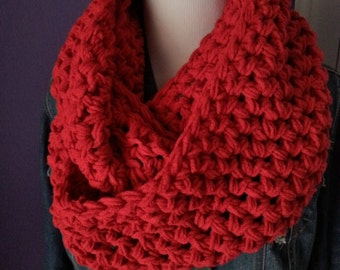 SUPER CHUNKY Crochet Infinity Scarf-Cherry Red