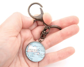 Custom Map Keychain You Select Location Personalized Accessory Any Place on the World Custom Vintage Map Groomsmen Gifts for Men