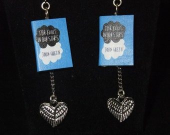 Fault in Our Stars Book Earrings w/Silver Hearts - Great Gift for Book Lovers!