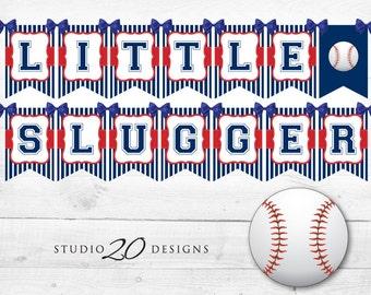 Instant Download Baseball Baby Shower Banner, Baseball Bunting Banner, Blue Red Baseball Birthday Banner, Little Slugger Baseball Banner 68A