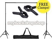 Photography Backdrop Stand with FREE CLAMPS - Adjustable 10ft x6ft Backdrop Support System - Photography Studio Equipment - Item 097
